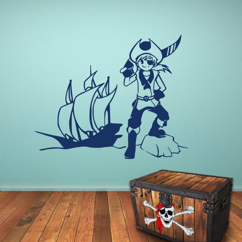 pirat und piratenboot wandtattoo. Black Bedroom Furniture Sets. Home Design Ideas